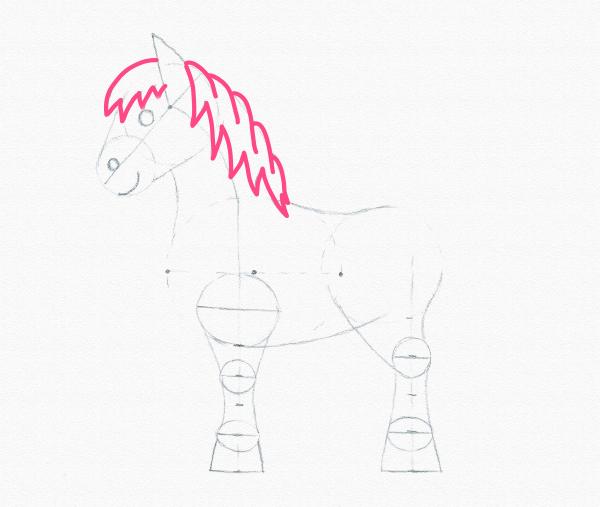 draw pony mane