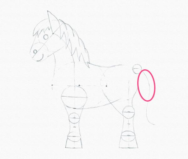 draw pony tail width