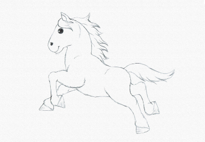 Draw running pony prev
