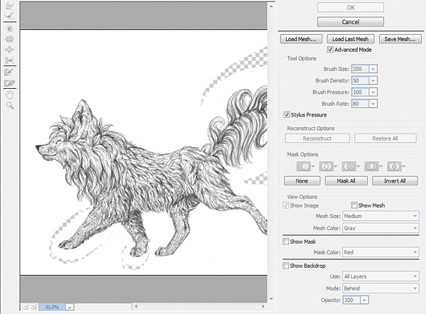 how to change shape traditional drawing liquify