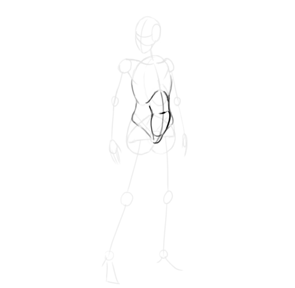 draw a realistic female warrior abdominal muscles