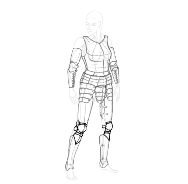 draw a realistic female warrior armor poleyn knee armor