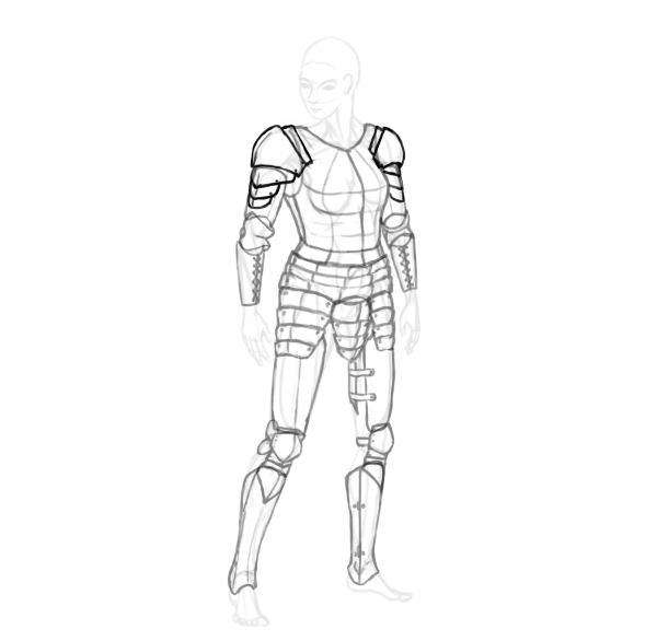 draw a realistic female warrior armor shoulder pauldron spaulder