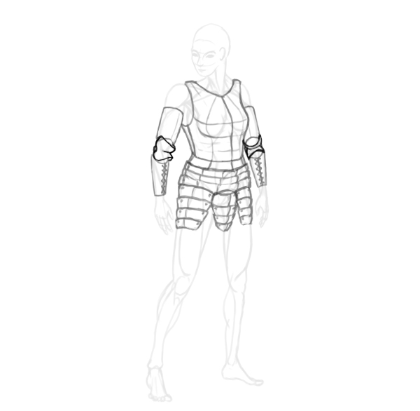 draw a realistic female warrior armor couter elbow armor