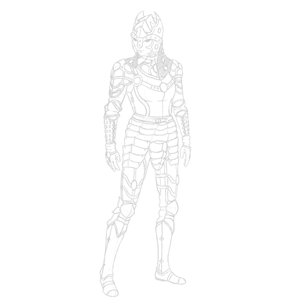 female warrior lineart sketch