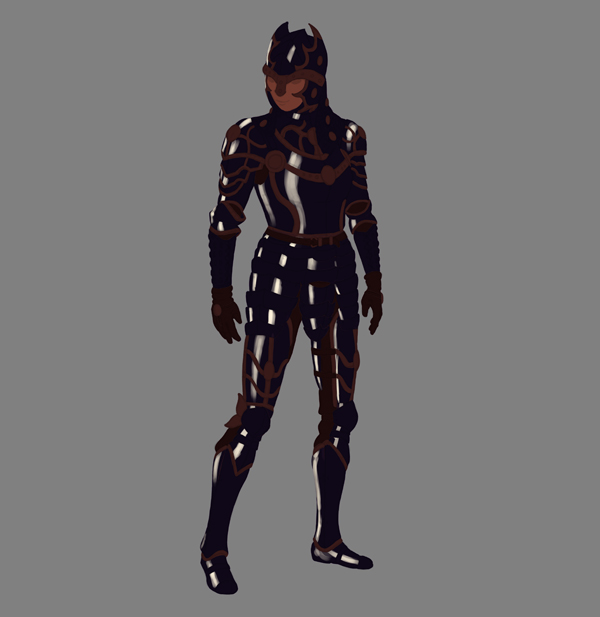 female warrior painting armor shine stripes