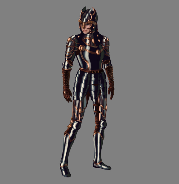 female warrior painting armor steel metal