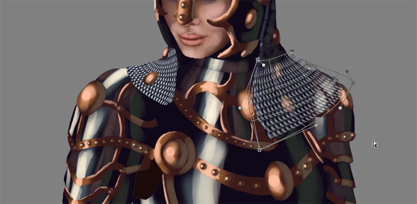 female warrior painting armor chain mail shape