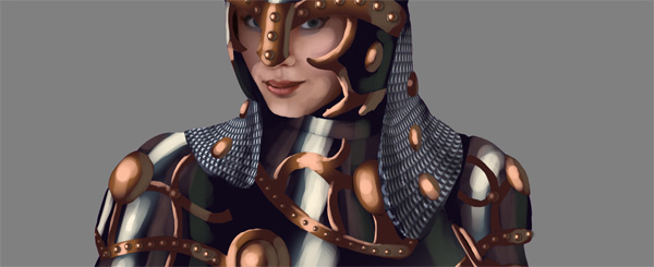 female warrior painting armor chain mail lighting