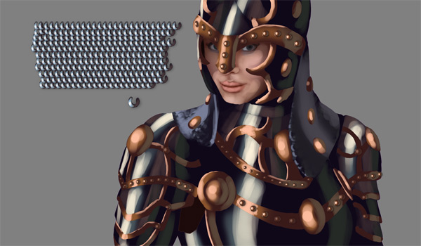 female warrior painting armor chain mail
