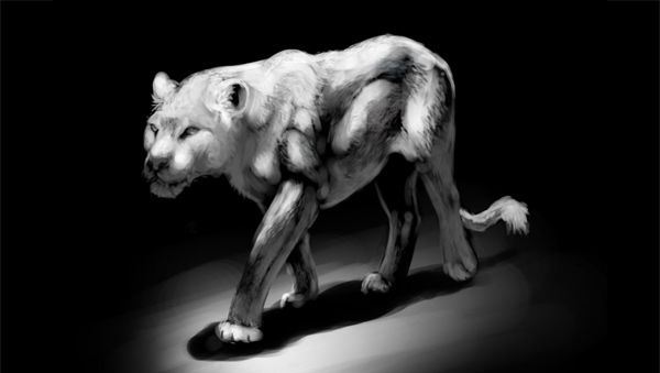 detalhes de pintura leão