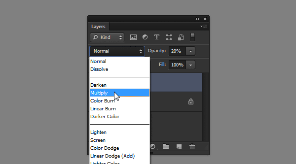 photoshop how to change blend mode multiply