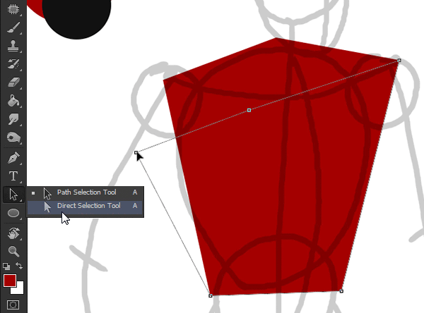 draw vector deadpool photoshop direct selection tool edit points