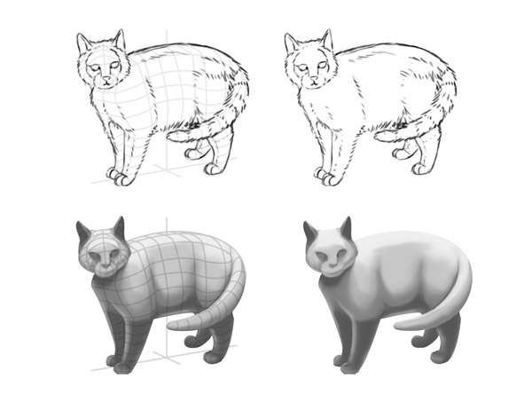 optical illusions how to shade animals digital painting
