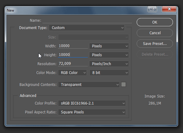 photoshop new file resolution