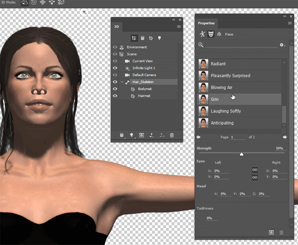 photoshop 3d character expression