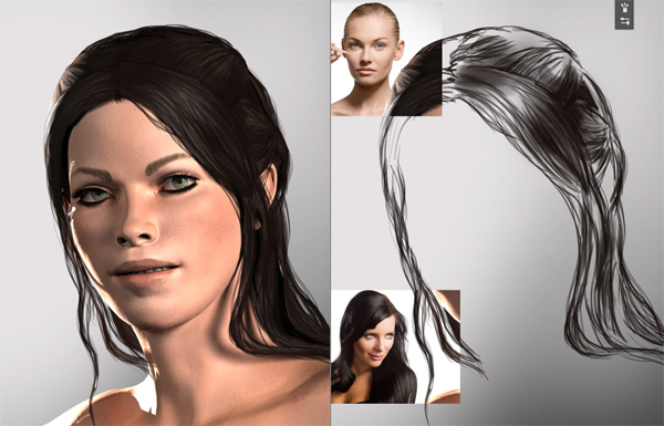 photoshop how to paint hair quickly