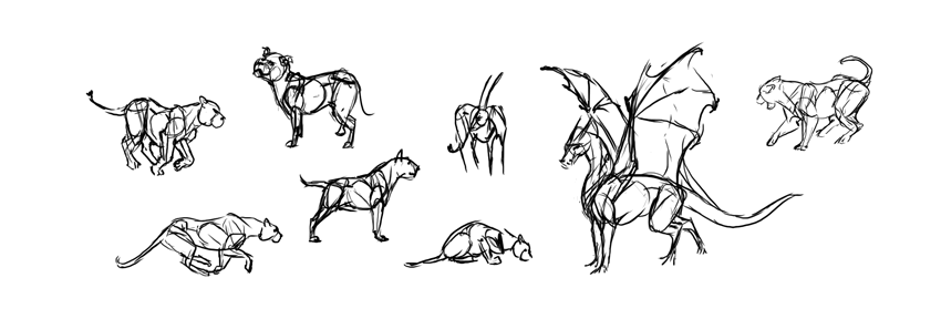 Easy gesture drawing animals