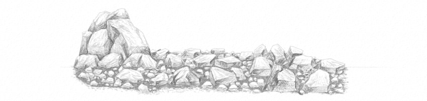 how to shade rocks with soft pencil