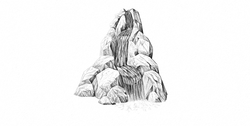 how to draw waterfall foam