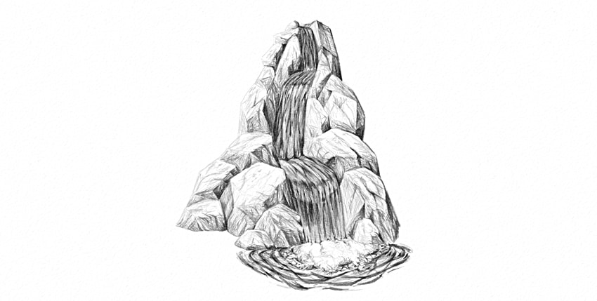 how to draw details under waterfall