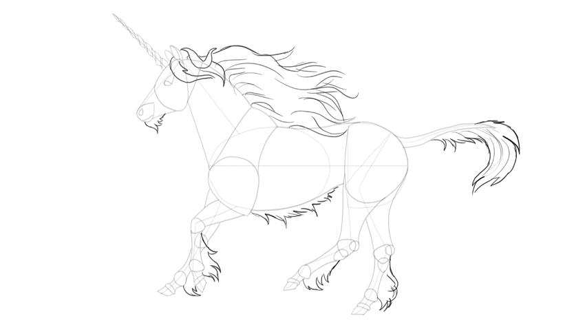 How to draw unicorn mane