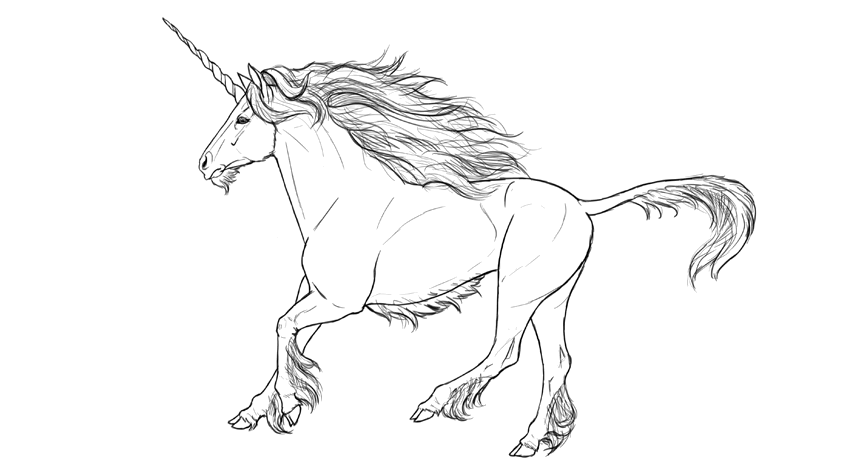 how to draw a realistic unicorn