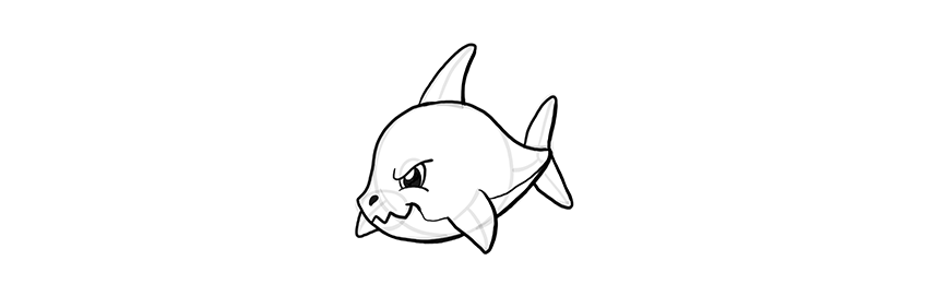 how to draw a chibi shark