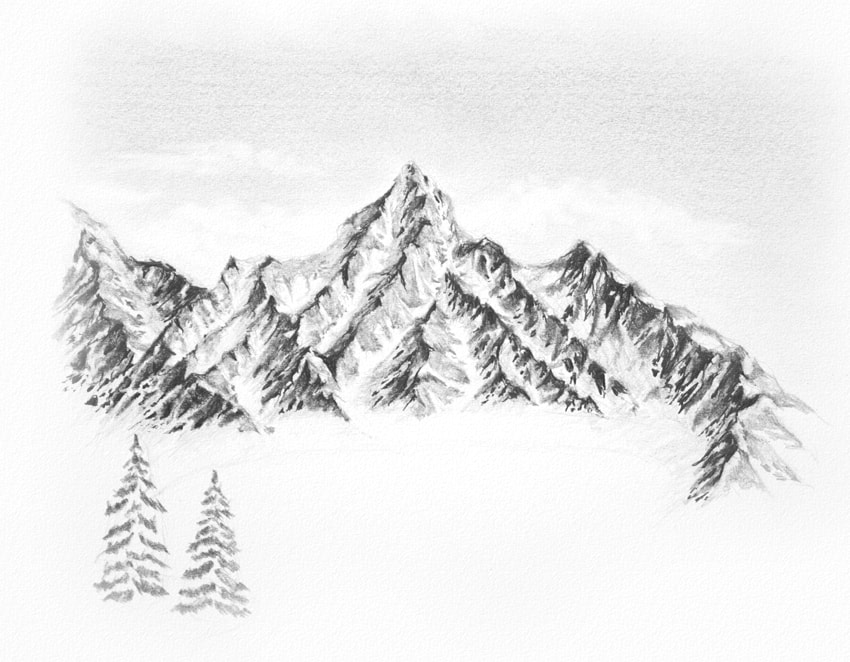 how to draw snowy trees