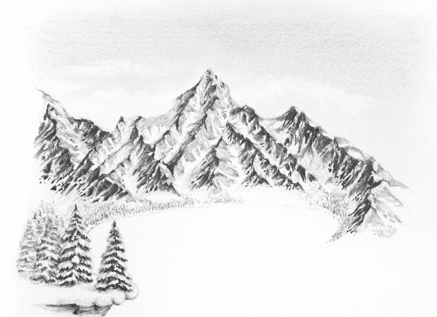 how to sketch a lake  How to Draw a Winter Landscape From Scratch how to draw winter landscape 1 20 min