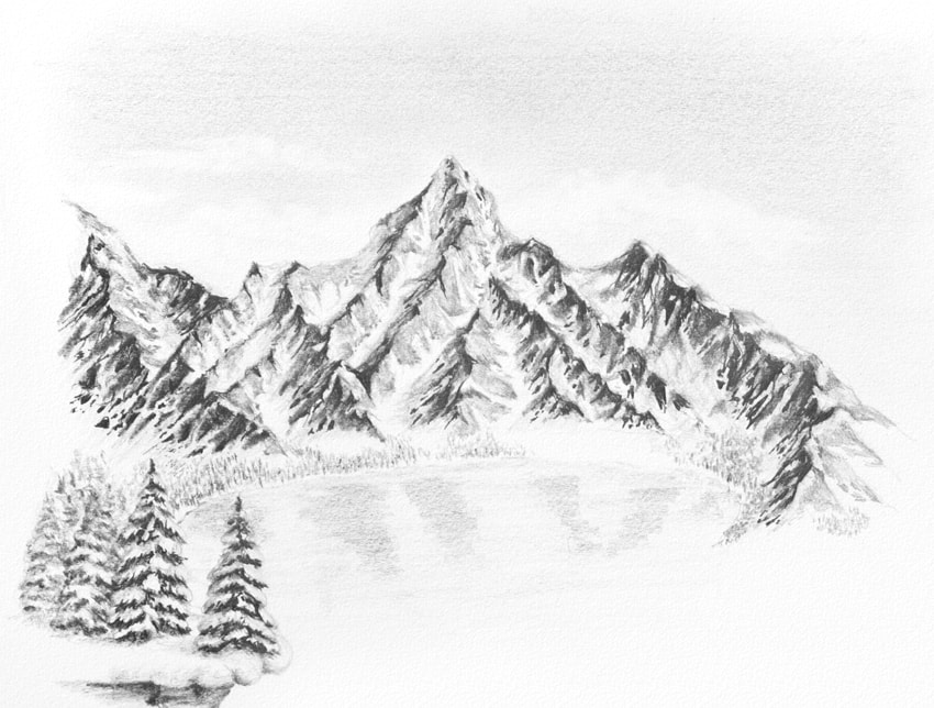 how to draw reflection in frozen lake