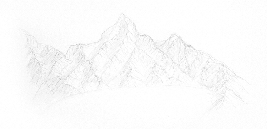 how to draw a simple sketch of mountains