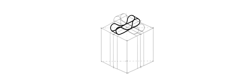 how to draw a present double bow