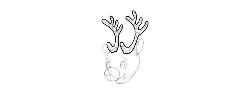 how to draw deer horns
