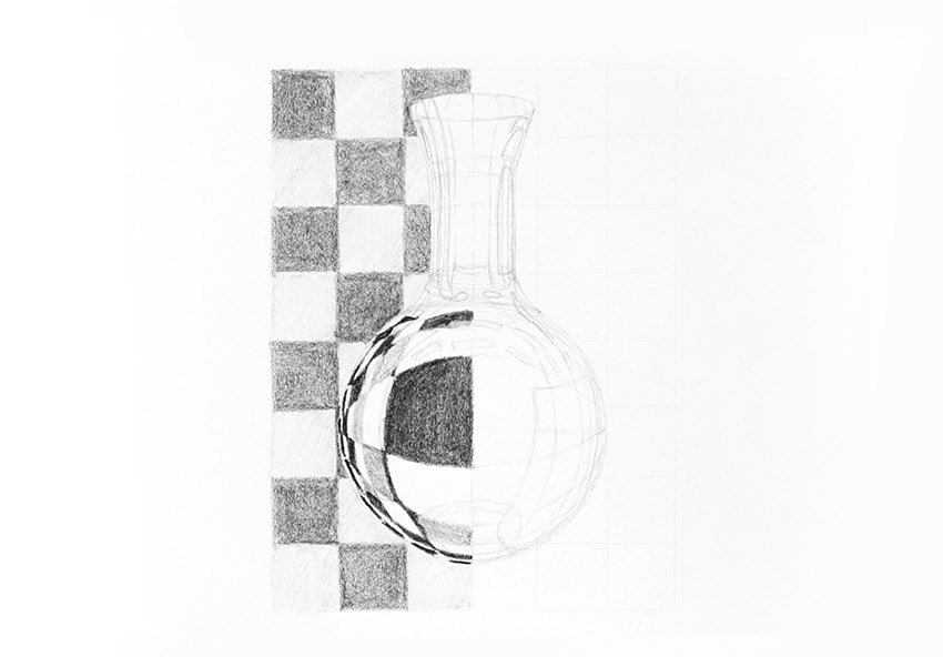 how to draw refracted pattern in glass