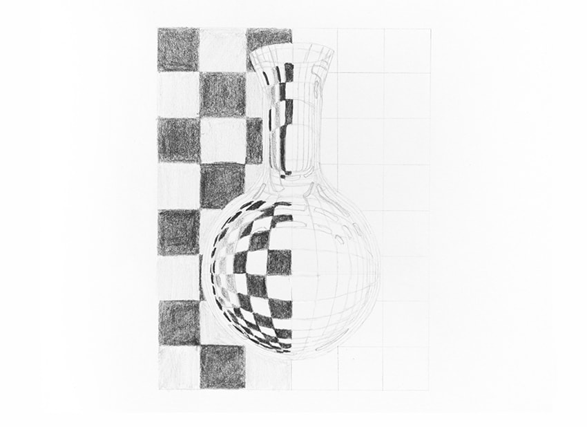 how to draw a pattern behind the glass