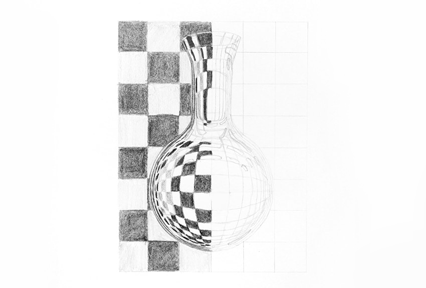 how to draw pattern distorted by glass