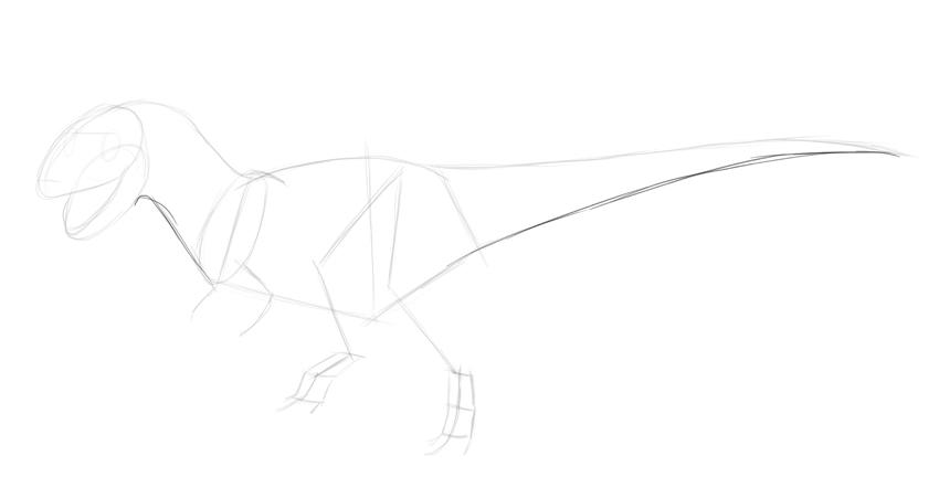 sketch dinosaur silhouette