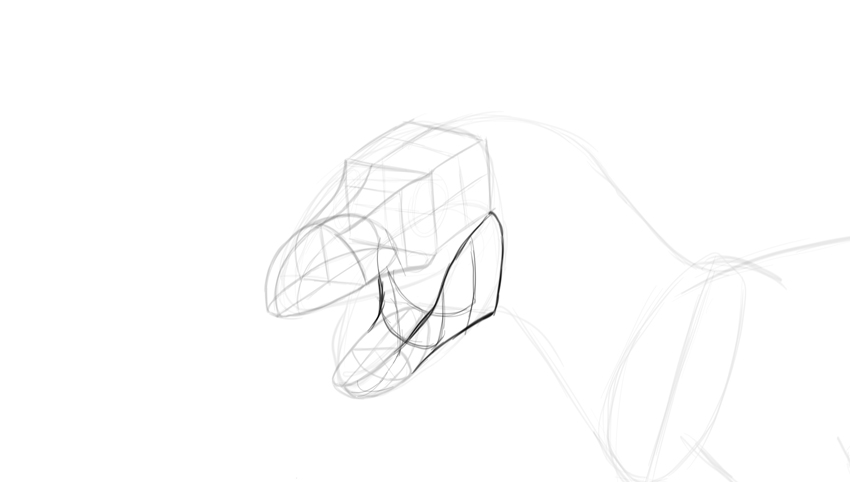 how to draw trex jaws