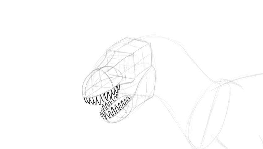 how to draw trex teeth