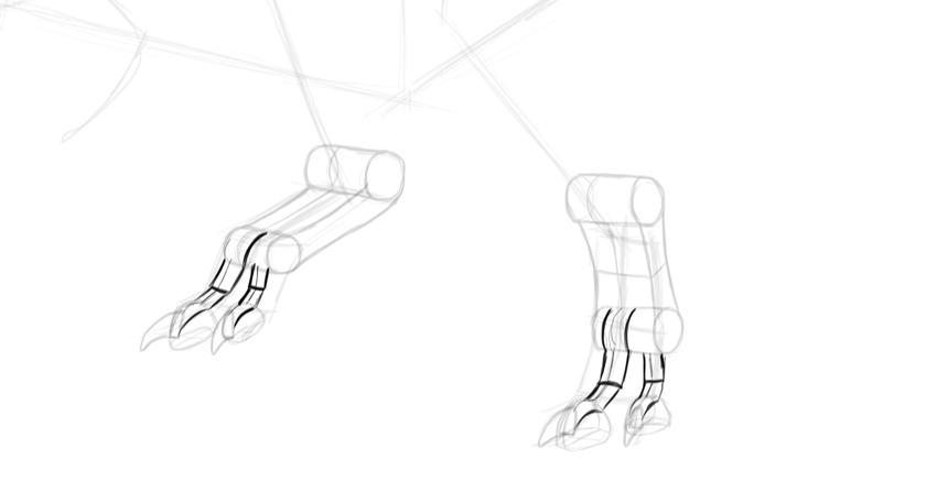 how to draw dinosaur feet