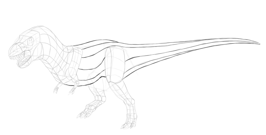 how to draw trex body