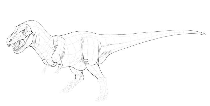 how to draw t rex skin