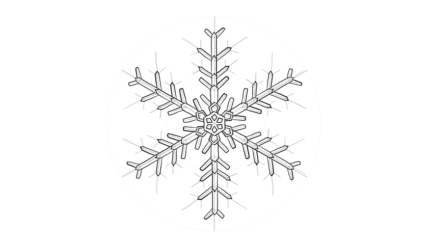snowflake crystal drawing
