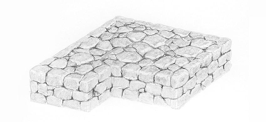 stone wall side shading