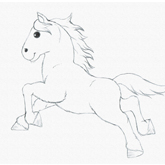 Drawing for Kids Draw a Running Pony
