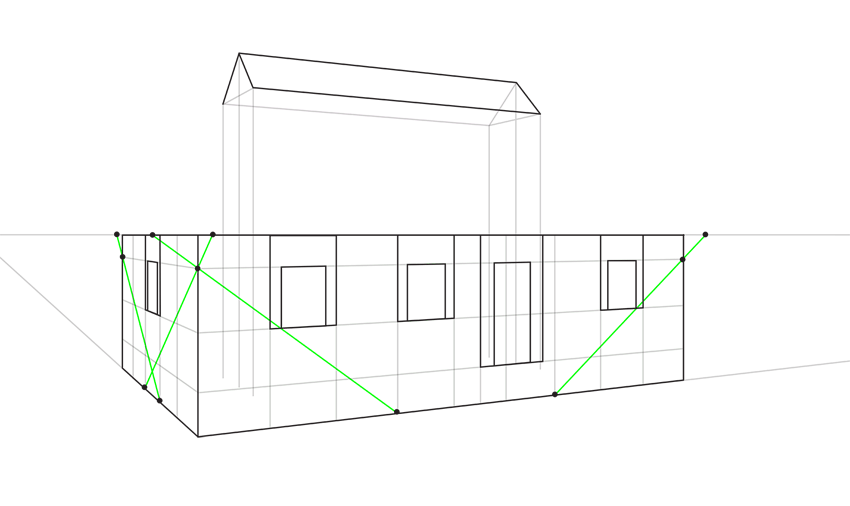 how to draw lines for roofs