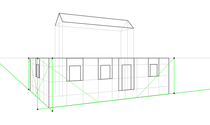 how to find roof length in perspective