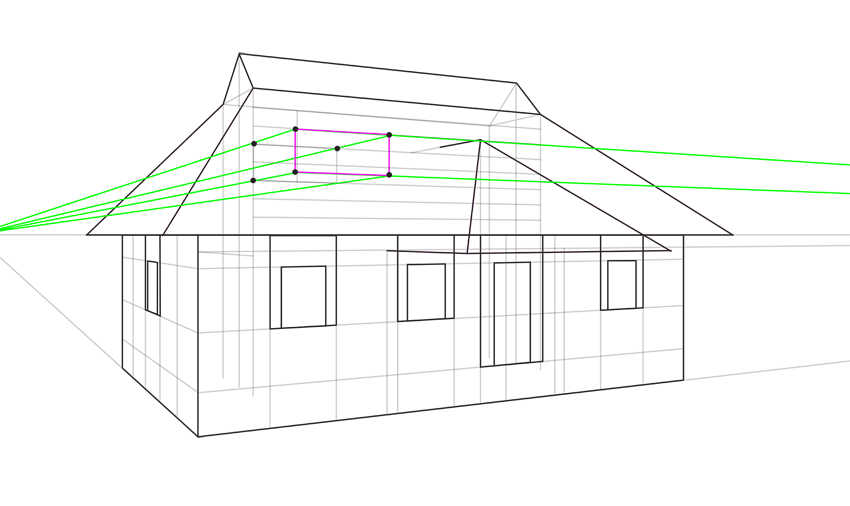 how to draw roof window in perspective