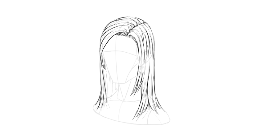 straight hair soft outline